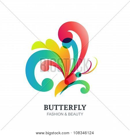Vector Illustration Of Colorful Transparent Butterfly.