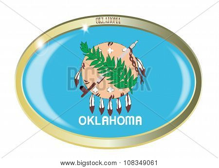 Oval metal button with the Oklahoma flag isolated on a white background poster
