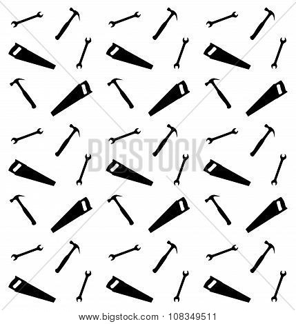 Pattern of spanner saw and hummer vector illustration poster