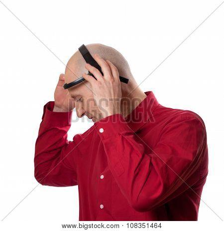 Young Man Puts On Head Headset Eeg (electroencephalography)