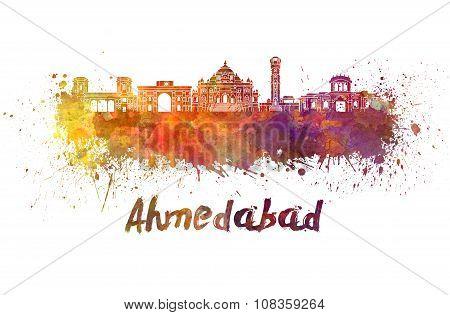 Ahmedabad Skyline In Watercolor