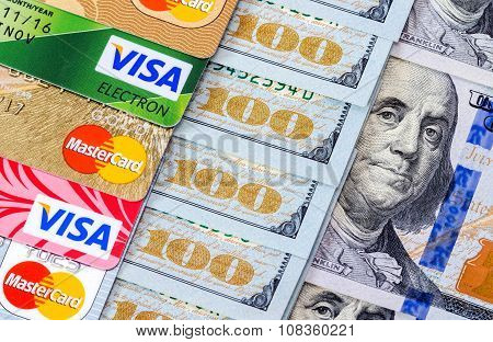Us Dollar Bills With Credit Cards Visa And Mastercard