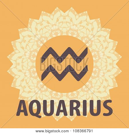 Aquarius. Water Bearer. Zodiac icon with mandala print. Vector icon.
