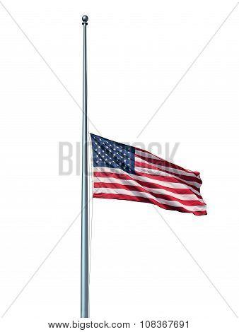 Half Mast Us Flag Isolated