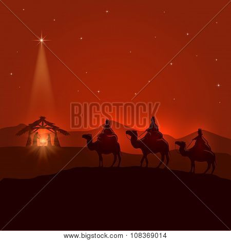 Night Background With Christian Christmas Scene