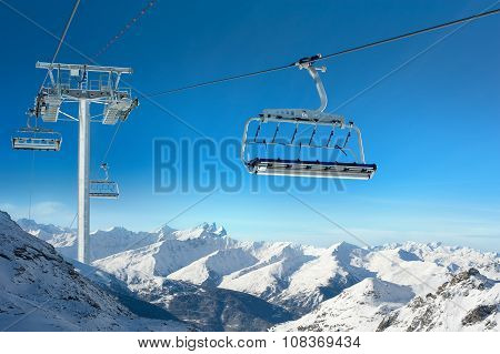 Ski lift in Snowy Winter Landscape
