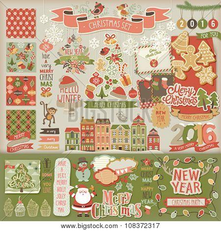 Christmas scrapbook set - decorative elements. Vector illustration.