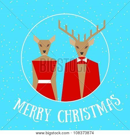 Merry Christmas Reindeer Couple