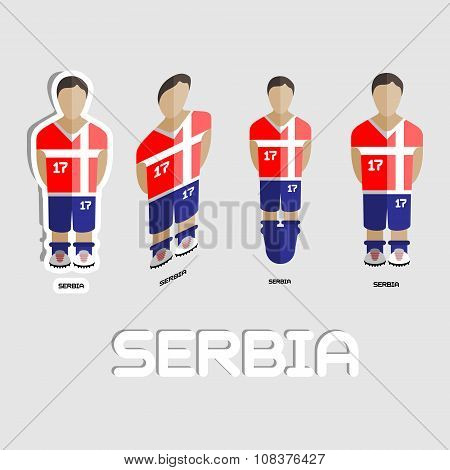 Serbia Soccer Team Sportswear Template. Front View of Outdoor Activity Sportswear for Men and Boys. Digital background vector illustration. Stylish design for t-shirts shorts and boots. poster