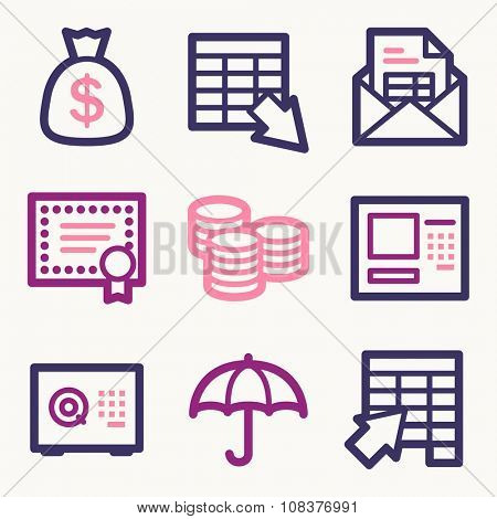Banking web icons, finance and money, business symbols, coin and cash, vector stock signs