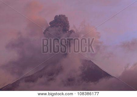 Explosion Of Tungurahua Volcano At Sunset
