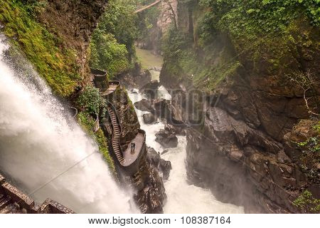 Pailon Del Diablo Waterfall In Banos De Aqua S