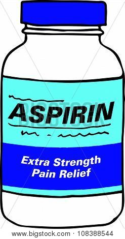 Aspirin Bottle for when you Get Hurt or Sick on the Job or Have Back Pain or Even a Simple Headache.