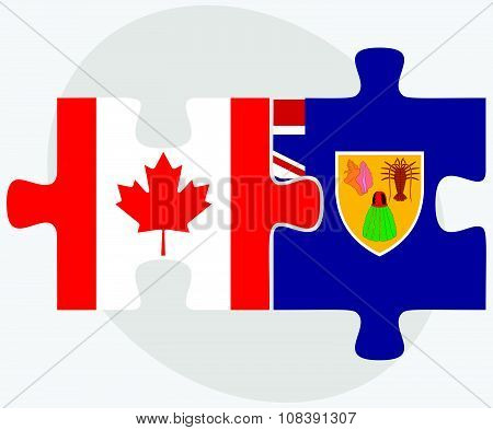 Canada and Turks and Caicos Islands Flags in puzzle isolated on white background poster