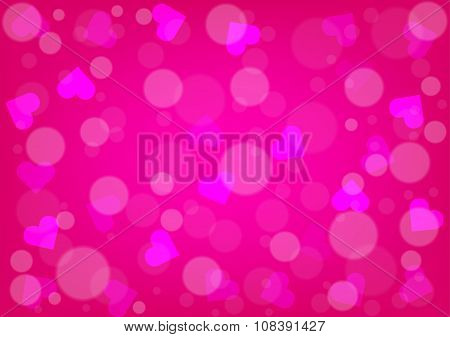 Abstract Hearts And Bokeh For Valentines Day Pink Color Background
