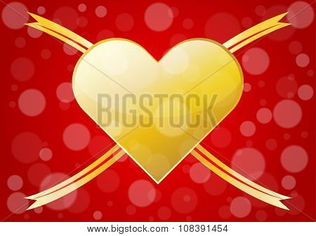 Abstract Gold Hearts For Valentines Day Background