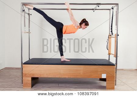 Pilates aerobic instructor woman in fitness exercise. poster
