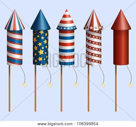 Set Of Firework Rocckets With Design