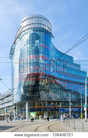 PRAGUE CZECH REPUBLI C - JULY 11 2015: modern shopping and offices center Andel Smichov district in Prague Czech republic. French architect Jean Nouvel designed an office building called Golden Angel here.