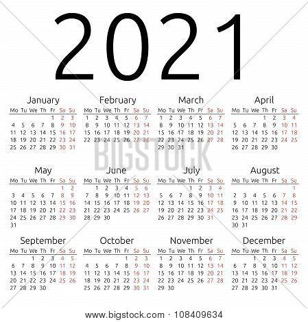 Simple Calendar 2021, Monday