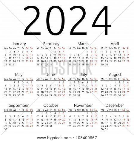Simple Calendar 2024, Monday