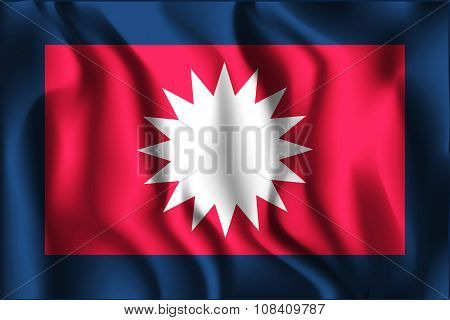 Nepal Variant Flag. Rectangular Shape Icon with Wavy Effect poster