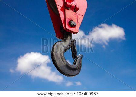 Close Up Of Heavy-duty Steel Hook On Blue Sky Background