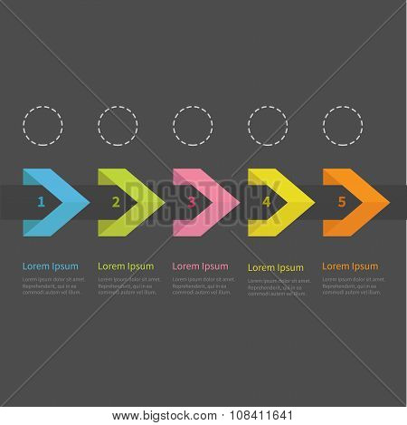Infographic Five Step  Ribbon Arrow Dashed Circle And Text. Template. Timeline Dark Background Flat