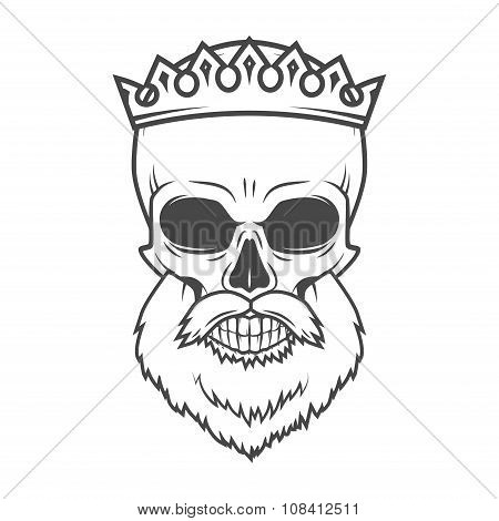 Bearded Skull with Crown design element. Dead King Arthur vintage portrait. Vector Royal t-shirt ill