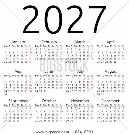 Simple Calendar 2027, Monday