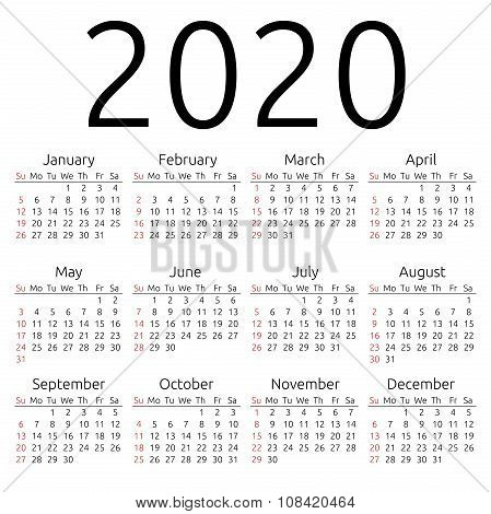 Vector Calendar 2020, Sunday