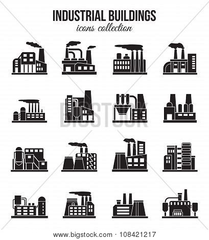 Set of industrial manufactory buildings icons set. Plant and factory, power. smoke, oil.  energy, nu
