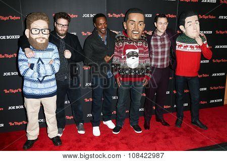 NEW YORK-NOV 16: (L-R) Actors Seth Rogen, Anthony Mackie and Joseph Gordon-Levitt attend the screening of