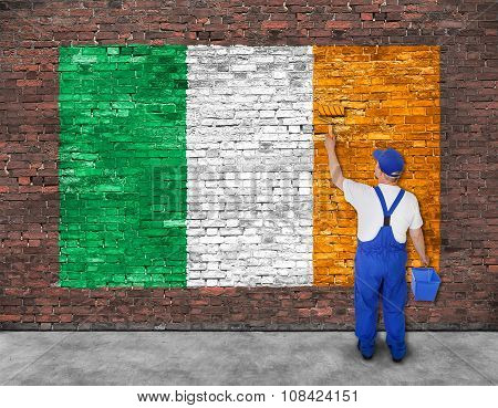 House Painter Paints Flag Of Ireland