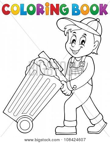 Coloring book garbage collector theme 1 - eps10 vector illustration.