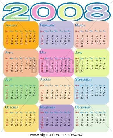 Colorful Calendar 2008