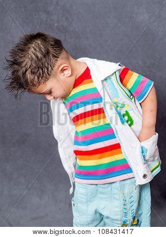 serching expiration. boy fashion portrait. Child model.