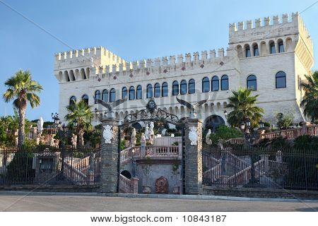 Large Beautiful Palace With Two Towers At  Front, With Parade Stairs And Beautiful Rich Registration