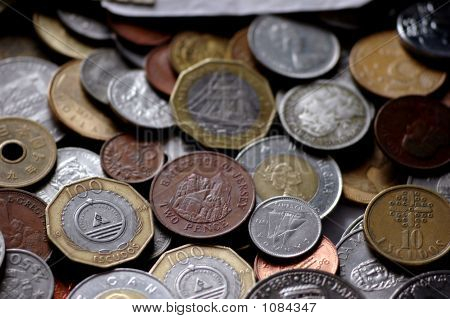 a group of coins of several countries poster