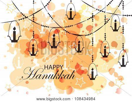 Falt Design Style Happy Hanukkah Logotype, Badge And Icon Typography