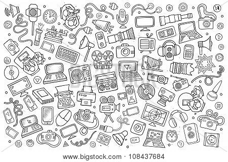 Sketchy vector hand drawn Doodle equipment and devices objects set