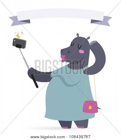 Selfie photo hippo fat woman vector portrait illustration on white background. Cartoon hippo fat woman, animal hippo vector. Selfie shot hippo woman human body. Vector hippo animal isolated. Fat hippo