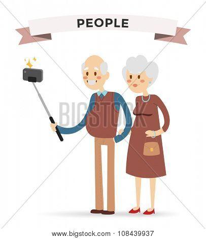 Selfie photo shot grandpa and grandma vector portrait illustration on white background. Old people fun vector illustration. Selfie shot woman, man, old men, old woman girl. Togetherness concept old