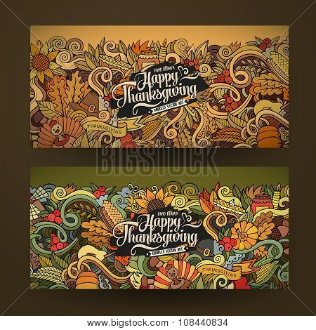 Cartoon vector hand-drawn Doodle Happy Thanksgiving Day cards