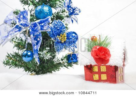 House And Christmas Tree, Abstract Holiday Background