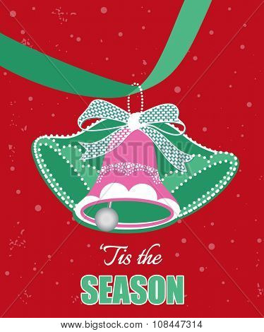 Christmas Bells on a ribbon - 'tis the season message