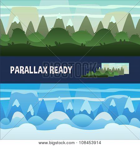 Seamless Cartoon Nature Backgrounds