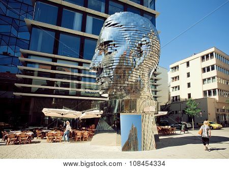 Profile Of A Giant Head, Gleaming On Sun, Monument By Sculptor David Cerny