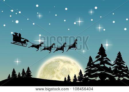 Christmas scene silhouette against blue sky