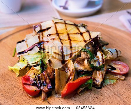 Warm Salad With A Tender Beef And Special Sauce